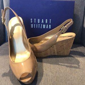Stuart Weitzman Beige Patent Leather Wedges